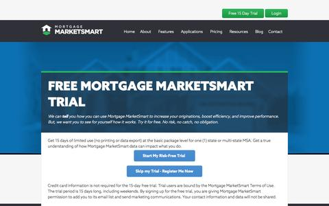 Screenshot of Trial Page mortgagemarketsmart.com - Free Trial | Market Intelligence Software | Mortgage MarketSmart - captured Oct. 10, 2014