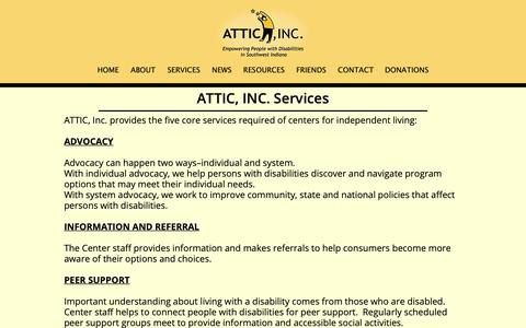 Screenshot of Services Page atticin.org - ATTIC, INC. Services - captured Oct. 4, 2018
