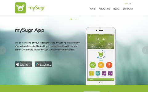 Screenshot of Home Page mysugr.com - mySugr.com - captured Aug. 13, 2019