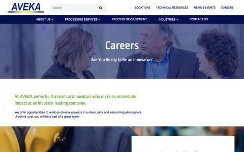 Screenshot of Jobs Page aveka.com - Careers | Spray Drying, Dry Blending, Roll Drying | AVEKA - captured Oct. 7, 2017