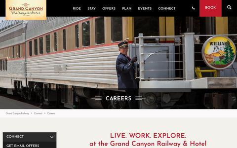 Screenshot of Jobs Page thetrain.com - Careers | Grand Canyon Railway & Hotel - captured Dec. 16, 2018