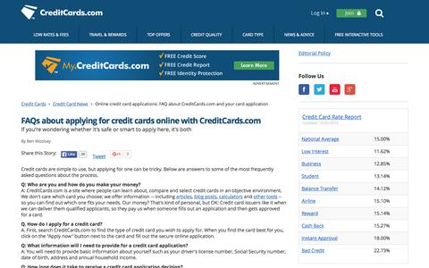 Screenshot of FAQ Page creditcards.com - Online credit card applications: FAQ about CreditCards.com and your card application - captured Oct. 2, 2015