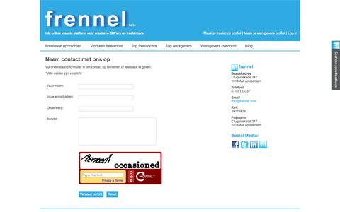 Screenshot of Contact Page frennel.com - Neem contact met ons op - Frennel.com - captured Sept. 30, 2014