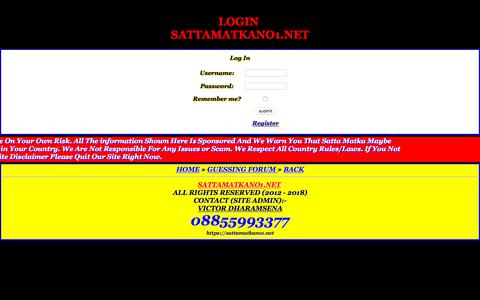 Screenshot of Login Page sattamatkano1.net - LOGIN SATTAMATKANO1.NET - captured Sept. 24, 2018