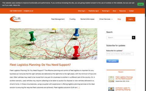 Screenshot of Blog clm.co.uk - News and Advice from CLM Fleet Management - captured Sept. 25, 2018