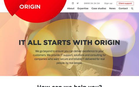 Screenshot of Home Page originit.co.nz - Home   Origin IT - captured Jan. 12, 2016
