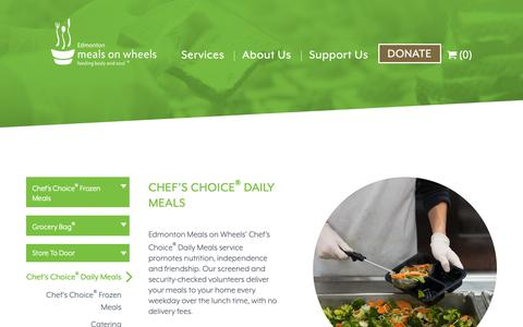 Screenshot of Services Page mealsonwheelsedmonton.org - Hot Meals and Meal Delivery in Edmonton | Chef's Choice® Daily Meals | Edmonton Meals on Wheels - captured Sept. 27, 2018