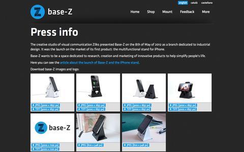 Screenshot of Press Page base-z.com - base-Z: Multifuncional iPhone support - captured Sept. 30, 2014