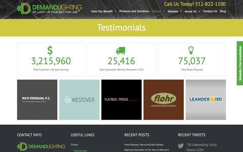 Screenshot of Testimonials Page demandlighting.com - Testimonials | Demand Lighting LEDs - captured June 4, 2017