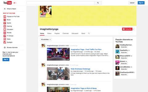 Screenshot of YouTube Page youtube.com - imaginationyoga  - YouTube - captured Oct. 23, 2014