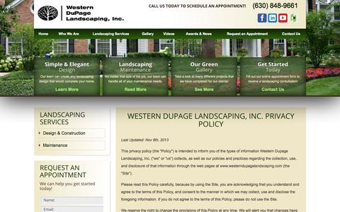Screenshot of Privacy Page westerndupagelandscaping.com - Privacy Policy | Western Suburbs Landscaping - captured Nov. 5, 2014