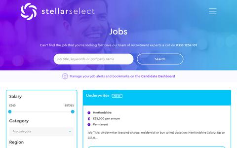 Screenshot of Jobs Page stellarselect.co.uk - Jobs Archive - Stellar Select - captured Oct. 18, 2018