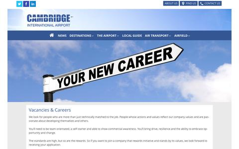 Screenshot of Jobs Page cambridgeairport.com - Vacancies and Careers at Cambridge Airport - captured Jan. 25, 2016