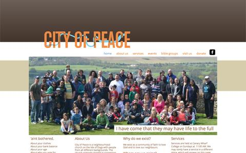 Screenshot of Home Page cityofpeace.co.uk - City of Peace Community Church on the Isle of Dogs - captured Jan. 28, 2016