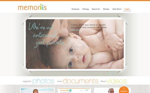 Screenshot of Home Page memoriis.com - Memoriis   Personal Content Manager - captured Oct. 6, 2014