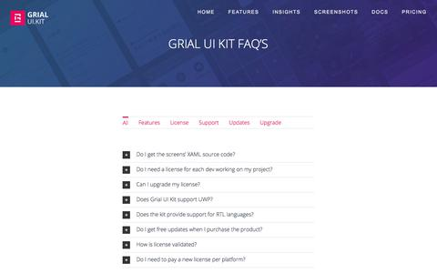 Screenshot of FAQ Page grialkit.com - Grial UI Kit FAQ - Grial UI Kit For Xamarin Forms - captured July 9, 2018