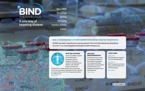 Screenshot of Home Page bindtherapeutics.com - Welcome to BIND Therapeutics - captured Sept. 13, 2014