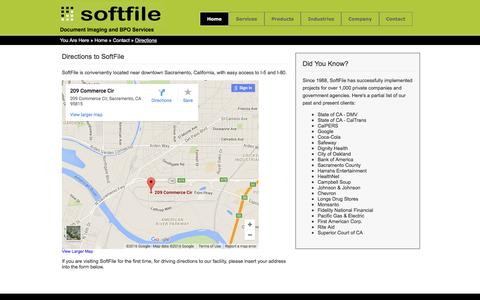 Screenshot of Maps & Directions Page softfile.com - SoftFile Directions - captured Feb. 26, 2016