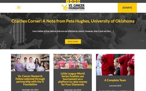 Screenshot of Blog vs-cancer.org - Blog - Vs. Cancer Foundation - captured Feb. 27, 2016