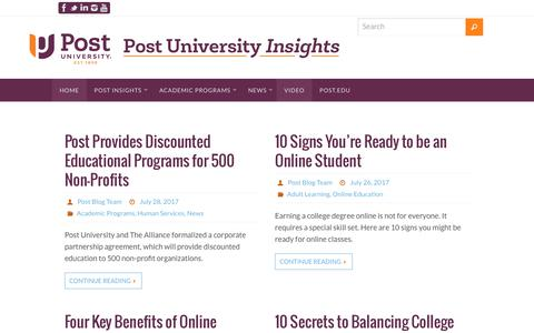 Screenshot of Blog post.edu - Post University Insights - - captured Aug. 5, 2017