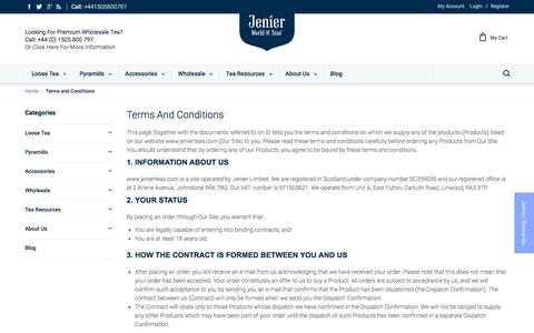 Screenshot of Terms Page jenierteas.com - Terms and Conditions - captured Sept. 18, 2016