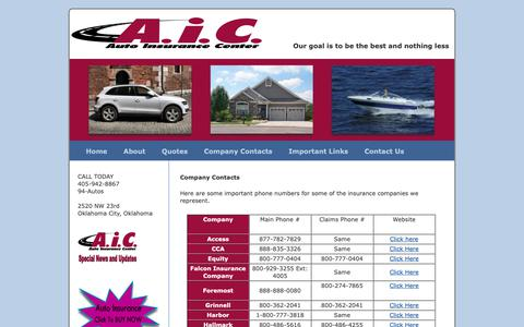 Screenshot of Services Page aicok.net - Insurance company contacts and services | AIC OKC - captured Oct. 4, 2018