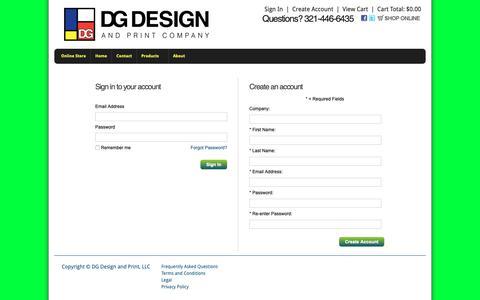 Screenshot of Login Page vcgstores.com - Account Login - DG Design and Print, LLC - captured Oct. 7, 2018