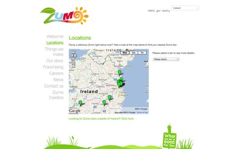 Screenshot of Locations Page zumobars.com - Zumo juice and smoothie bars locations | zumobars - captured Nov. 5, 2014