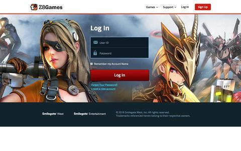 Screenshot of Login Page z8games.com - Z8Games - Free Gaming. Evolved. - captured Sept. 21, 2018