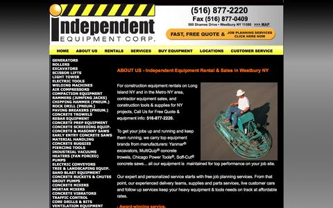 Screenshot of About Page iecrentalny.com - Rent & Buy Equipment NY: Excavators, Generators & Rock Splitters in NY: ABOUT Independent Equipment Rentals Westbury Long Island NY - captured April 9, 2016