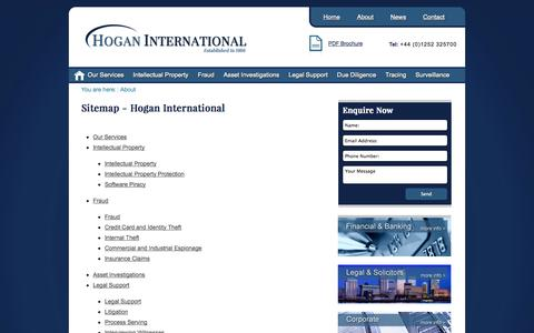 Screenshot of Site Map Page ehogans.com - Hogan International. Commercial Investigators, Intellectual Property investigations. Financial Transaction Fraud, Surveillance, Tracing, Missing Persons. - sitemap - captured Oct. 2, 2014