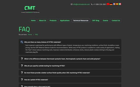 Screenshot of FAQ Page cmtmaterials.com - CMT Materials | FAQ | CMT Materials - captured Oct. 1, 2014