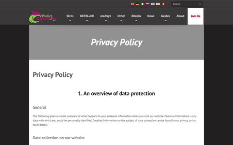Screenshot of Privacy Page ewallet-optimizer.com - eWallet-Optimizer • Privacy Policy - captured Sept. 23, 2018
