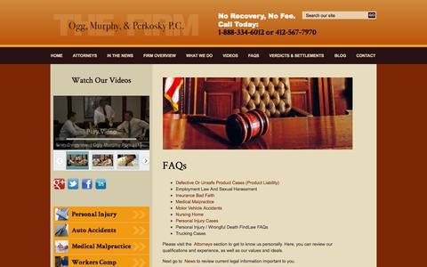 Screenshot of FAQ Page ocmilaw.com - FAQs   Ogg, Murphy & Perkosky P.C.   Pittsburgh Pennsylvania - captured Oct. 26, 2014