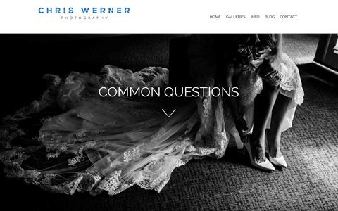 Screenshot of FAQ Page chriswernerphoto.com - Common Wedding Questions heard by a Lake Tahoe Wedding Photographer - captured June 16, 2019