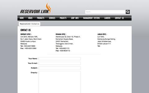 Screenshot of Contact Page reservoirlink.com - Contact Us | ReservoirLink - captured Oct. 7, 2014