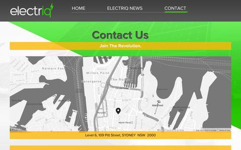 Screenshot of Contact Page electriq.com - Contact — Electriq - captured Oct. 28, 2014
