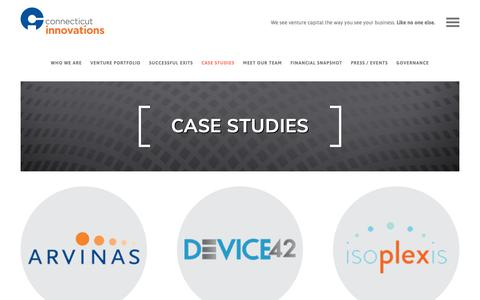 Screenshot of Case Studies Page ctinnovations.com - Case Studies - Connecticut Innovations Connecticut Innovations - captured Sept. 29, 2018
