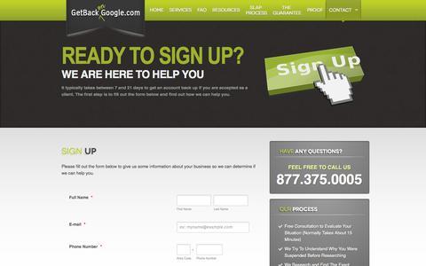 Screenshot of Signup Page getbackongoogle.com - Sign Up » Get Back on Google - captured Sept. 19, 2014