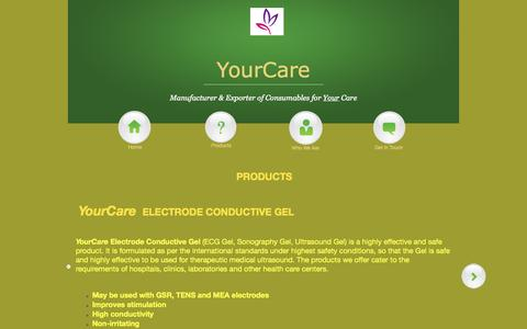 Screenshot of Products Page your-care.in - YourCare - captured Sept. 26, 2014