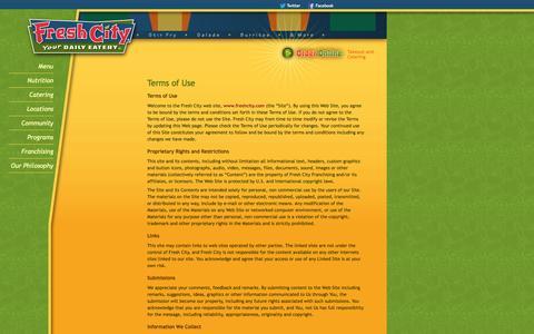 Screenshot of Terms Page freshcity.com - Terms of Use   www.freshcity.com - captured Sept. 30, 2014