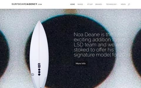 Screenshot of Home Page surfboardagency.com - The Surfboard Agency | The Finest Hand Crafted Surfboards Available From The Worlds Best Shapers | - captured Oct. 3, 2018