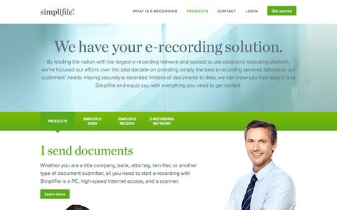 Screenshot of Products Page simplifile.com - E-recording services: Simplifile E-recording Services - captured Sept. 19, 2014