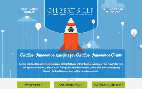 Screenshot of Home Page About Page gilbertslaw.ca - Toronto Intellectual Property Lawyers | Cross Border Business Disputes | Gilbert's LLP - captured Oct. 2, 2014