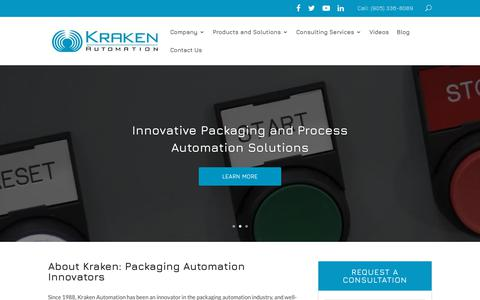 Screenshot of Home Page krakenautomation.com - Automated Packaging Systems   Kraken Automation - captured Oct. 15, 2018