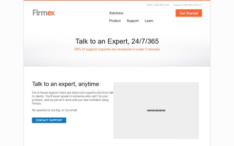 Screenshot of Support Page firmex.com - Firmex Support - captured July 20, 2014