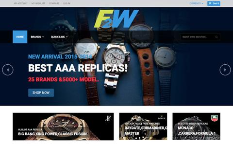 Screenshot of Home Page f2w.co - Buy Fake Watches Online,Cheap Fake Hublot Watches From F2W - captured Feb. 9, 2016