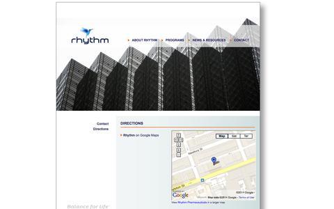 Screenshot of Maps & Directions Page rhythmtx.com - Rhythm: Directions - captured Sept. 17, 2014