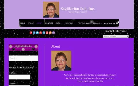 Screenshot of About Page sagsun.com - About - Sagittarian Sun, Inc. - captured Oct. 1, 2018
