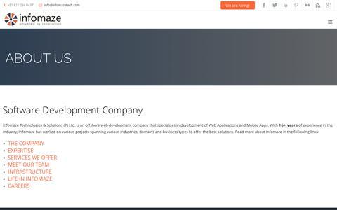 Screenshot of About Page infomazetech.com - Offshore Software Development Company India | Infomaze - captured Oct. 12, 2018